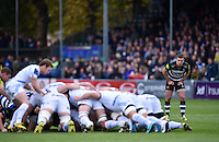 George Ford of Bath Rugby watches a scrum. Aviva Premiership match, between Bath Rugby and Exeter Chiefs on October 17, 2015 at the Recreation Ground in Bath, England. Photo by: Patrick Khachfe / Onside Images