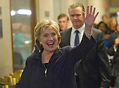 Former United States Secretary of State Hillary Rodham Clinton, a candidate for the 2016 Democratic Party nomination for President of the United States, waves to supporters as she departs following her testimony before the US House Select Committee on Benghazi on Capitol Hill in Washington, DC on Thursday, October 22, 2015.<br /> Credit: Ron Sachs / CNP<br /> (RESTRICTION: NO New York or New Jersey Newspapers or newspapers within a 75 mile radius of New York City)