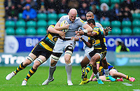 Matt Garvey of Bath Rugby takes on the Northampton Saints defence. Aviva Premiership match, between Northampton Saints and Bath Rugby on September 3, 2016 at Franklin's Gardens in Northampton, England. Photo by: Patrick Khachfe / Onside Images