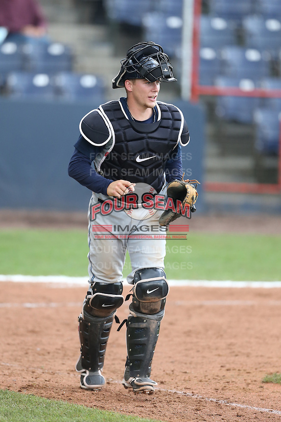 Tyler Baker #9 of the Hillsboro Hops during a game against the Vancouver Canadians at Nat Bailey Stadium on July 24, 2014 in Vancouver, British Columbia. Hillsboro defeated Vancouver, 7-3. (Larry Goren/Four Seam Images)