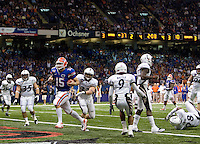 01 January 2010:  Tim Tebow of Florida scores a touchdown during the game against Cincinnati during Sugar Bowl at the SuperDome in New Orleans, Louisiana.  Florida defeated Cincinnati, 51-24.