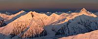 Panorama of the Alaska range mountains. Mount Silverthorne (right) and Mount Brooks (left). Denali National Park, interior, Alaska.