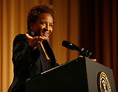 Washington, DC - May 9, 2009 -- Comedian Wanda Sykes entertains the crowd at the annual White House Correspondents' Association gala dinner at the Washington Hilton Hotel, Washington, DC, Saturday, May 9, 2009..Credit: Martin H. Simon - Pool via CNP