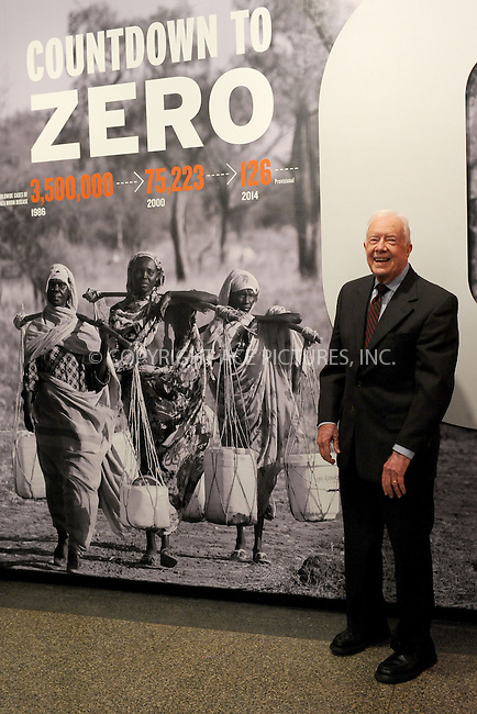 WWW.ACEPIXS.COM<br /> January 12, 2015 New York City<br /> <br /> Jimmy Carter, Former President &amp; co-founder of The Carter Center, attending the preview of 'Countdown to Zero: Defeating Disease', a new exhibition about scientific and social innovations ridding the world of ancient afflictions, at the American Museum of Natural History on January 12, 2015 in New York City.<br /> <br /> Please byline: Kristin Callahan/AcePictures<br /> <br /> ACEPIXS.COM<br /> <br /> Tel: (212) 243 8787 or (646) 769 0430<br /> e-mail: info@acepixs.com<br /> web: http://www.acepixs.com