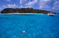 Snorkeling, Catamaran sail boat, Tobago Cays, The Grenadines, Caribbean