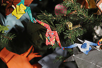 OrigamiUSA holiday tree at the American Museum of Natural History 2014. Detail of models: origami monkeys designed by Tomoko Fuse.