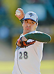 18 August 2012: Vermont Lake Monsters pitcher Andres Avila warms up prior to a game against the Brooklyn Cyclones at Centennial Field in Burlington, Vermont. The Lake Monsters defeated the Cyclones 4-1 in NY Penn League action. Mandatory Credit: Ed Wolfstein Photo