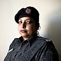 Lady police constable Afshan Farooq of the West Zone Police Station Karachi, Pakistan, 2011