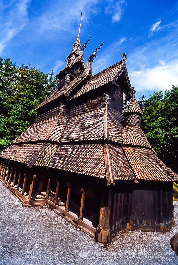 Norway, Bergen. Fantoft Stavkirke (Stave Church).