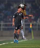 Jack McInerney heads the ball. Spain defeated the U.S. Under-17 Men National Team  2-1 at Sani Abacha Stadium in Kano, Nigeria on October 26, 2009.