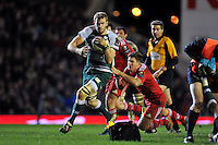 Tom Croft of Leicester Tigers takes on the Munster defence. European Rugby Champions Cup match, between Leicester Tigers and Munster Rugby on December 20, 2015 at Welford Road in Leicester, England. Photo by: Patrick Khachfe / JMP