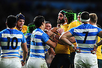 Tempers flare between Matias Moroni of Argentina and Scott Fardy of Australia. The Rugby Championship match between Argentina and Australia on October 8, 2016 at Twickenham Stadium in London, England. Photo by: Patrick Khachfe / Onside Images