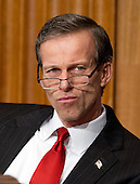 United States Senator John Thune (Republican of South Dakota), a member of the U.S. Senate Finance Committee, listens to the testimony of U.S. Secretary of Health and Human Services (HHS) Kathleen Sebelius during a hearing on the agency's FY 2013 budget proposal on Capitol Hill in Washington, D.C. on Wednesday, February 15, 2012..Credit: Ron Sachs / CNP