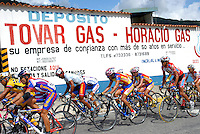 Athletes compete in stage five of the annual Vuelta al Tachira cycling race in Merida, Venezuela on Wednesday, Jan. 9, 2008. Local and international teams will ride over 1580 kilometers and climb a 1500 meter altitude differential throughout the competition. The grueling, 13-stage race through the Andes mountains is hailed as the premier cycling event in South America.