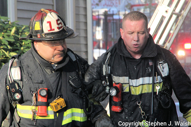 3 alarm fire at 87 Linden Street Boston 6:30am Sunday April 28, 2013. L14 reported jumpers and ordered a 2nd alarm on arrival. One dead, 9 occupants injured and 6 Firefighters injured. Mayday called by Rescue 1 for 2 Firefighters down.