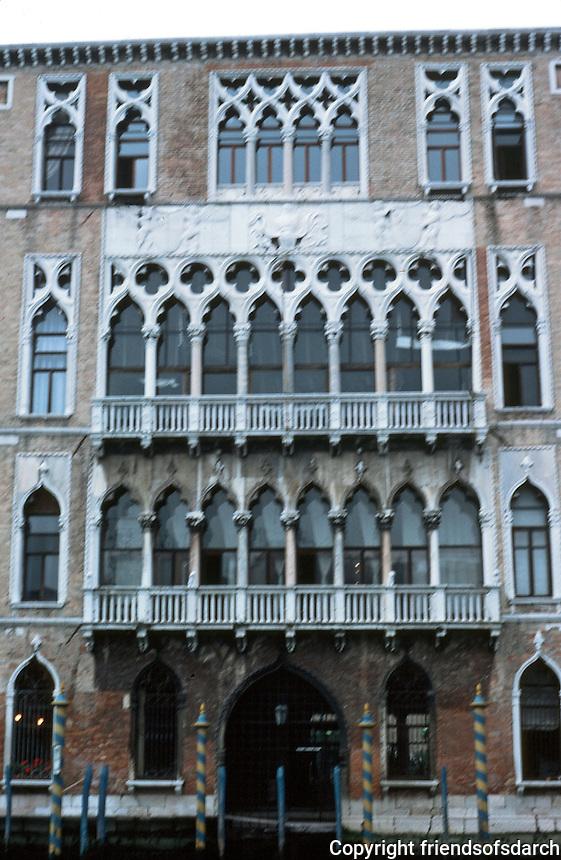 Venice:  Palazzo Foscari, 15th century.  Gothic style.  Residence of Doge Foscari, deposed 1457, died next day.  Photo '83.