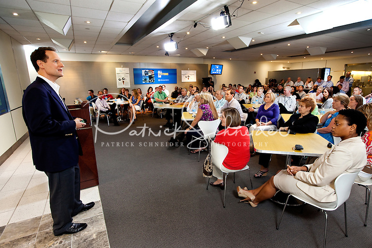 Photography of UTC's Mike Dumais  speaking with the new UTC Aerospace Systems employees at the new Charlotte headquarter in Charlotte, North Carolina.<br /> Photo by; PatrickSchneiderPhoto.com