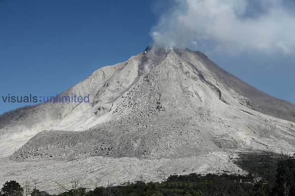 Large andesitic lava flow deposit on flank of Sinabung Volcano, Sumatra, Indonesia