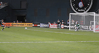 DC United defender Carey Talley (8) executes a penalty kick in the 92th minute of the match to win the game.  DC United defeated Chivas USA 3-2 at RFK Stadium, Saturday May 29, 2010.