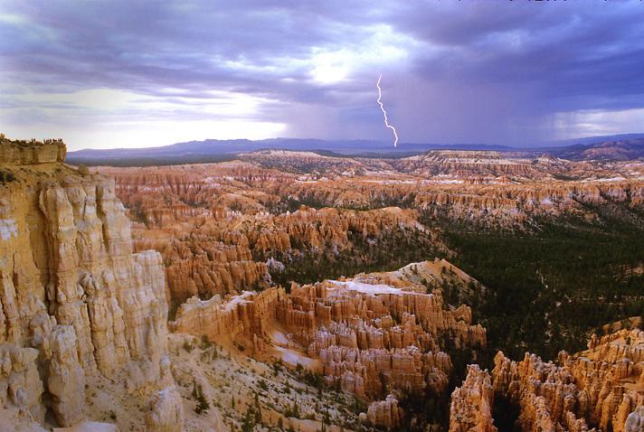 Lightning strikes Bryce Canyon National Park, Utah.