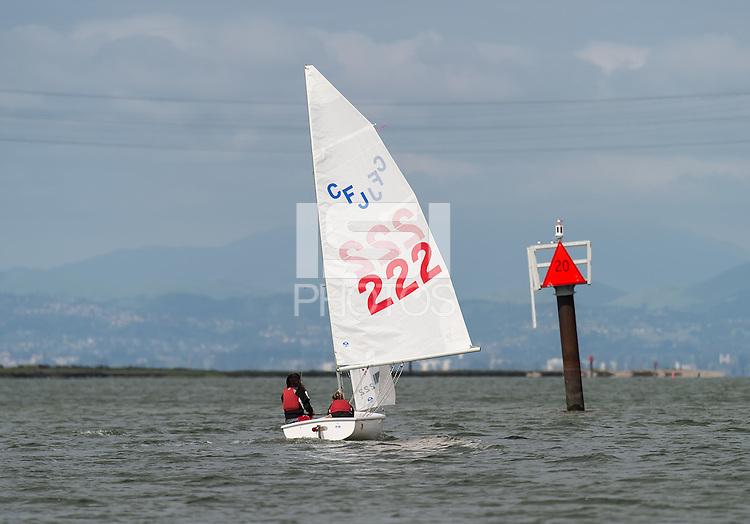 REDWOOD CITY, CA -April 12, 2016: The Stanford Cardinal sailing team practice on San Francisco Bay.