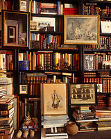 The bookshelves in this library are filled with an assortment of leatherbound books, pictures and objects
