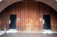 "Rest rooms in Battery Park in the Zone A evacuation zone   are sandbagged prior to Hurricane Sandy, in New York on Sunday, October 28, 2012. In advance of the arrival of Hurricane Sandy New York will shut down the subways at 7 PM on Sunday and evacuate low lying ""Zone A"" areas including Battery Park City. In addition the schools will be closed on Monday. (© Richard B. Levine)"