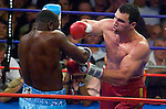 Wladimir Klitschko (red) and Samuel Peters in the ring during their 12 rounds NABF Heawyweight Title fight at the Boardwalk Hall in Atlantic City, NJ, on 09.24.05. Klitschko won by Unanimous Decision.