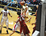 Ole Miss' Gracie Frizzell (12) vs. Arkansas' Sarah Watkins (4) in a women's college basketball game in Oxford, Miss. on Thursday, January 31, 2013. Arkansas won 77-66.