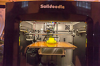A Solidoodle 3d printing machine at the Good Housekeeping magazine Spring Fling promotion in Vanderbilt Hall in Grand Central Terminal in New York on Tuesday, April 29, 2014. The event featured demonstrations of many products that the magazine reviews. (© Richard B. Levine)