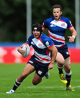 Jonathon Dawe of Great Britain in possession. FISU World University Championship Rugby Sevens Men's Cup Final between Australia and Great Britain on July 9, 2016 at the Swansea University International Sports Village in Swansea, Wales. Photo by: Patrick Khachfe / Onside Images