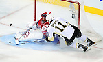 6 February 2010: Montreal Canadiens' goaltender Jaroslav Halak gives up an early goal to the Pittsburgh Penguins with only 62 seconds into play at the Bell Centre in Montreal, Quebec, Canada. The Canadiens defeated the Penguins 5-3. Mandatory Credit: Ed Wolfstein Photo