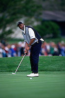 PEBBLE BEACH, CA: Jerry Rice plays golf in the AT&T Pebble Beach National Pro Am in January of 1997. Photo by Brad Mangin