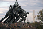 Iwo Jima Memorial with Washington, DC in background.