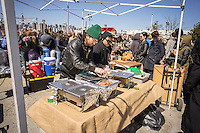 Foodies from around the city flock to opening day at the premiere outdoor food court, Smorgasburg in East River State Park in the Williamsburg neighborhood of Brooklyn in New York on Saturday, April 4, 2015. The marketplace features prepared and artisanal foods made in Brooklyn by small entrepreneurs. The market has provided a venue for numerous chefs and cooks to sell their wares, some of whom have grown into large successful businesses. (© Richard B. Levine)