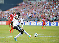 Seattle, Washington - Tuesday, June 11, 2013: USMNT 2-0 over Panama during a World Cup qualifying match at CenturyLink Field. Eddie Johnson scores a goal.