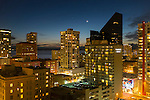 Downtown Seattle and crescent moon