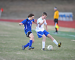 Oxford's Edward Terry (5) vs. Saltillo in boys high school soccer action at Oxford High School in Oxford, Miss. on Thursday, January 27, 2011.