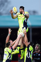 Bryn Evans of Sale Sharks wins the ball at a lineout. Aviva Premiership match, between Saracens and Sale Sharks on February 25, 2017 at Allianz Park in London, England. Photo by: Patrick Khachfe / JMP