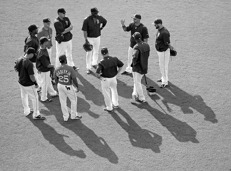 (Ft. Myers, FL, 03/18/15) Boston Red Sox right fielder Shane Victorino, top right, talks to members of the Boston Red Sox's outfield and coaches during a drill prior to the start of a Major League Baseball spring training game against the Minnesota Twins at jetBlue Park in Ft. Myers,, Florida on Wednesday, March 18, 2015. Photo by Christopher Evans