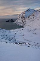 View over Haukland beach in winter, Vestvågøy, Lofoten Islands, Norway