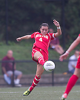 Boston University midfielder Brittany Heist (4) passes the ball. After 2 complete overtime periods, Boston College tied Boston University, 1-1, after 2 overtime periods at Newton Soccer Field, August 19, 2011.