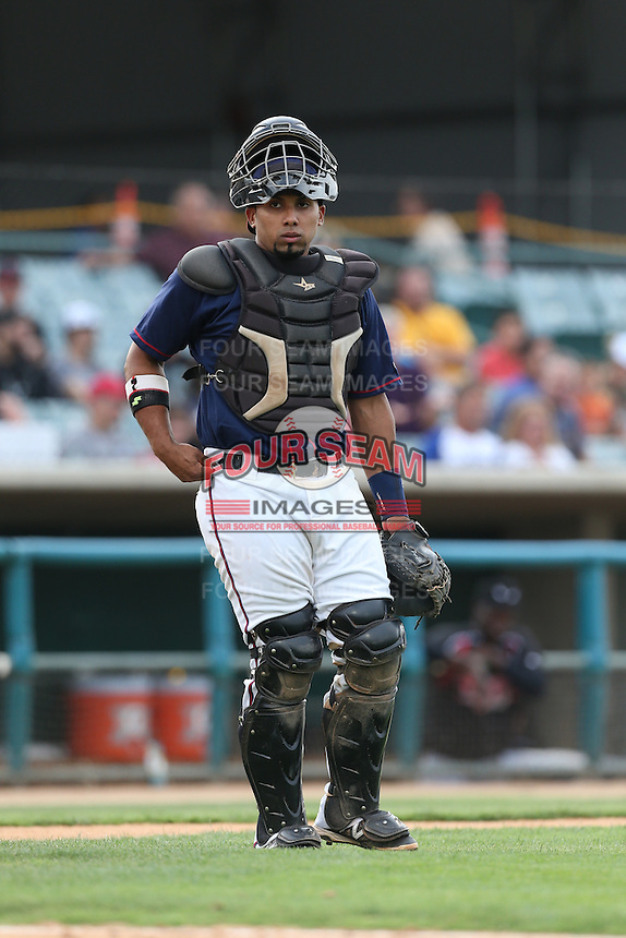 Jobduan Morales #7 of the Lancaster JetHawks during a game against the Lake Elsinore Storm at The Hanger on August 2, 2014 in Lancaster, California. Lake Elsinore defeated Lancaster, 5-1. (Larry Goren/Four Seam Images)