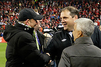 Toronto, ON, Canada - Saturday Dec. 10, 2016: MLS commissioner Don Garber, Canada Soccer President Victor Montagliani, United States Soccer Federation president Sunil Gulati prior to the MLS Cup finals at BMO Field. The Seattle Sounders FC defeated Toronto FC on penalty kicks after playing a scoreless game.