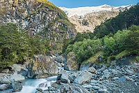 Rob Roy creek with Rob Roy Glacier on horizon, Mount Aspiring National Park, Central Otago, New Zealand