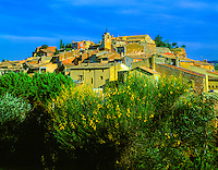Colorful buildings in Roussillon  Provence Regional Natural Park  Provence, France  Near Luberon Mountains  May
