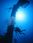 Orchid Island, Taiwan -- Divers at the Ba Dai ship wreck.