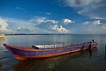 A Cayuko, or dug-out canoe sits near the airport in Carti, San Blas Islands, Kuna Yala, Panama