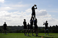 Bath Rugby players practise their lineout. Bath Rugby pre-season training session on August 9, 2016 at Farleigh House in Bath, England. Photo by: Patrick Khachfe / Onside Images