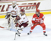 Molly Schaus (BC - 30), Alison Szlosek (BC - 8), Britt Hergesheimer (BU - 2) - The Boston College Eagles defeated the Boston University Terriers 2-1 in the opening round of the Beanpot on Tuesday, February 8, 2011, at Conte Forum in Chestnut Hill, Massachusetts.